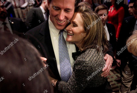 Rick Santorum, Karen Santorum Republican presidential candidate, former Pennsylvania Sen. Rick Santorum gets a hug from his wife Karen in Cranberry, Pa. Santorum is suspending his campaign for the GOP presidential nomination, clearing a path for Mitt Romney to become the nominee