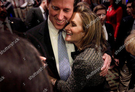 Rick Santorum, Karen Santorum Republican presidential candidate, former Pennsylvania Sen. Rick Santorum gets a hug from his wife Karen during a primary election night party in Cranberry, Pa