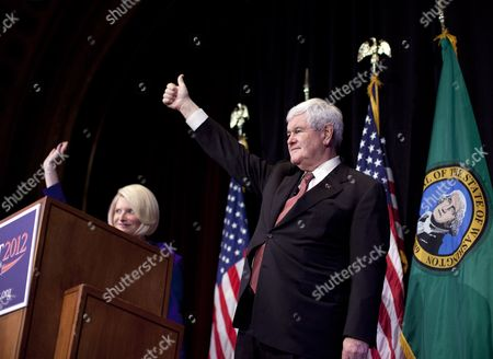 Newt Gingrich Republican presidential candidate, former House Speaker Newt Gingrich, right, and his wife Callista wave during a campaign stop at the Bing Crosby Theatre, in Spokane, Wash. Caucuses in Washington state will be held on . At stake are 40 delegates to the Republican national nominating convention later this summer, a cache second only to Florida's 50 in contests thus far