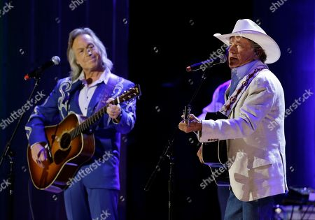 George Strait, right, and Jim Lauderdale perform