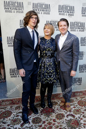 Shawn Colvin, center, poses with Joey Ryan, left, and Kenneth Pattengale, right, of The Milk Carton Kids