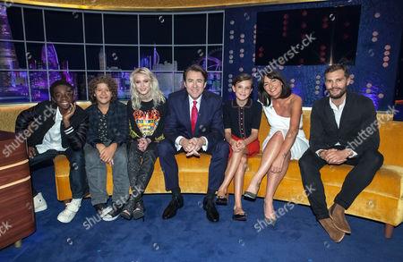 Stock Picture of Caleb McLaughlin, Gaten Matarazzo, Zara Larsson, Jonathan Ross, Millie Brown, Davina McCall, Jamie Dornan