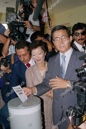Alberto Fujimori, Susana Higuchi Alberto Fujimori, 51, son of Japanese immigrants, casts his vote accompanied by his wife Susana Higuchi, during presidential elections, in Lima, Peru. Fujimori is expected to get the second place and would go into a runoff with novelist Vargas Llosa