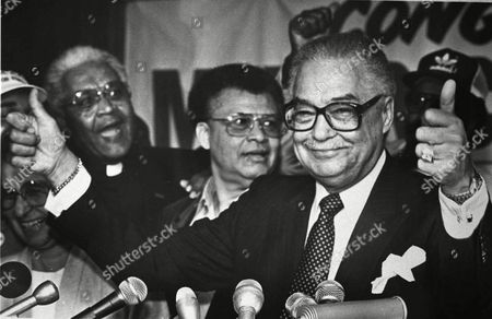 MAYOR YOUNG Former Detroit Mayor Coleman Young, shown at his election night party on Nov. 6, 1985, remained unconscious in critical and unstable condition, according to one of the doctors treating him. Young, 79, went into cardiac arrest Wednesday at Sinai Hospital where he had been undergoing treatment since July