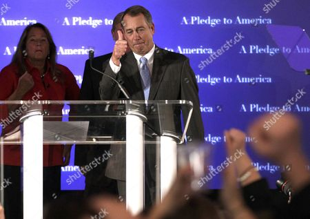 Stock Photo of John Boehner, Debbie Boehner House Republican leader John Boehner of Ohio celebrates the GOP's victory that changes the balance of power in Congress and will likely elevate him to speaker of the House, during an election night gathering hosted by the National Republican Congressional Committee at the Grand Hyatt hotel in Washington, . He is joined by his wife Debbie
