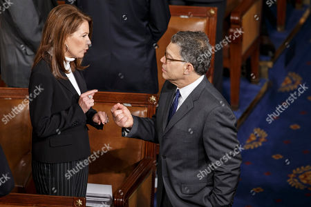 Michele Bachmann, Al Franken Rep. Michele Bachmann, R-Minn., left, and Sen. Al Franken, D-Minn., talk as lawmakers gather in the chamber of the House of Representatives for a joint meeting of Congress, at the Capitol in Washington, before a speech by visiting Ukranian President Petro Poroshenko. The House and Senate are wrapping up business and heading to their home states for the weeks leading up to the midterm elections