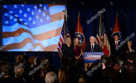 Bob Corker, Elizabeth Corker, Emily Corker, Julia Spickard, Justin Spickard, Jean Coaker Sen. Bob Corker, R-Tenn., surrounded by, from left, his wife Elizabeth, daughter Emily, daughter Julia Spickard, her husband Justin Spickard, and Bob's mother, Jean Corker, speaks to supporters at an election night victory rally at the Cabana Restaurant, in Nashville, Tenn. Corker defeated Democrat Mark Clayton