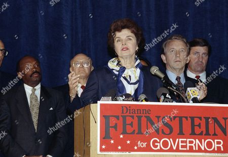 Democratic gubernatorial candidate Dianne Feinstein addresses press conference in San Francisco, as part of a three-stop campaign swing following her election victory on Tuesday. With her, from left, are: Assembly Speaker Willie Brown, Arlo Smith, candidate for attorney general; Lt. Gov. Leo McCarthy and Sen. John Garamendi (D-Walnut Grove