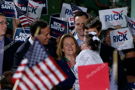 Rick Santorum, Karen Santorum, Bella Santorum Former U.S. Sen. Rick Santorum, left, and his wife Karen talk to their daughter Bella, as he stands with family before he announced his candidacy for the Republican nomination in the 2016 presidential race on in Cabot, Pa