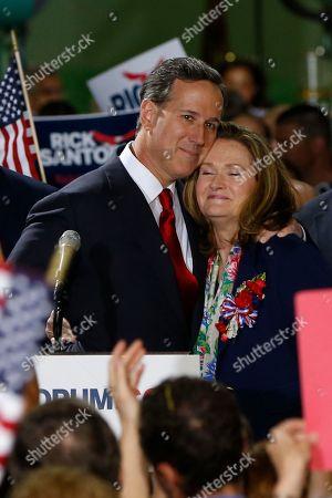 Rick Santorum, Karen Santorum Former U.S. Sen. Rick Santorum, center, embraces his wife Karen before he announces his candidacy for the Republican nomination in the 2016 presidential race on in Cabot, Pa