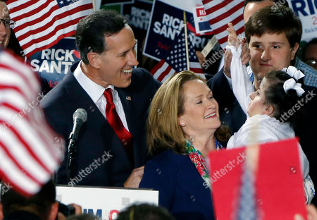 Rick Santorum, Karen Santorum, Bella Santorum Former U.S. Sen. Rick Santorum, left, and his wife Karen, center, talk with his daughter Bella, right, as he announces his candidacy for the Republican nomination for President of the United States in the 2016 election on in Cabot, Pa