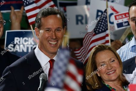 Rick Santorum, Karen Santorum Former U.S. Sen. Rick Santorum, left, stands with his wife Karen Santorum as he announces his candidacy for the Republican nomination for President of the United States in the 2016 election on in Cabot, Pa