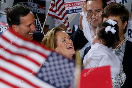 Rick Santorum, Karen Santorum, Bella Santorum Former U.S. Sen. Rick Santorum, left, and his wife Karen, center, talk with daughter Bella, right, as he announces his candidacy for the Republican nomination for president of the United States in the 2016 election, in Cabot, Pa