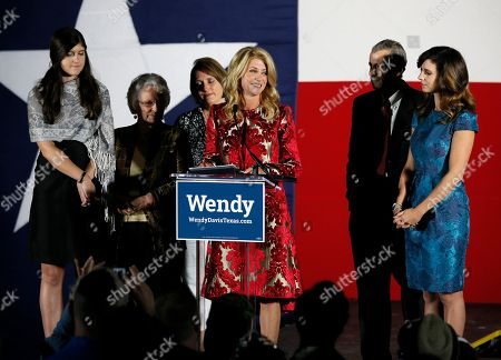 Wendy Davis, Election Texas Democratic gubernatorial candidate Wendy Davis makes her concession speech at her election watch party, in Fort Worth, Texas. Davis' family, daughter Dru, from left, mother Ginger Russell, sister Jennifer James, brother Joey Russell and daughter Amber, right, watch during the speech