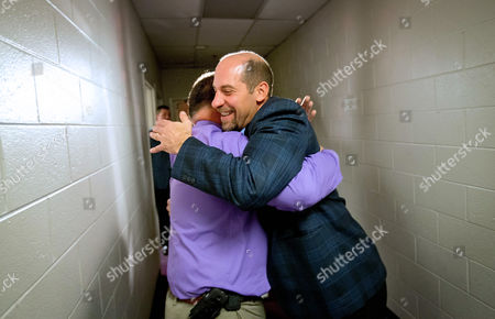 John Smoltz, Jim Lovell Former Atlanta Braves pitcher John Smoltz, right, embraces Braves assistant athletic trainer Jim Lovell as he leaves a press conference after his election to baseball's Hall of Fame, in Atlanta