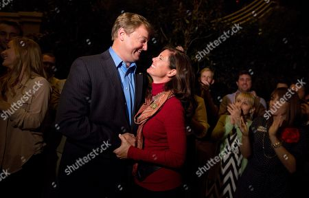 Stock Image of Dean Heller, Lynne Heller Nevada Sen. Dean Heller, left, shares a moment with his wife, Lynne Heller after speaking to the media about his win over challenger Rep. Shelley Berkley, D-Nev. to be re-elected to the Senate, in Las Vegas