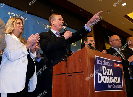 Dan Donovan, Serena Stonick Accompanied by his fiancee, Serena Stonick, left, Staten Island District Attorney Dan Donovan thanks supporters while giving an acceptance speech during an election night gathering, in the Staten Island borough of New York. Through a special election held Tuesday Donovan won the 11th Congressional District seat vacated in January by former Congressman Michael Grimm, who resigned after pleading guilty to one count of federal tax evasion