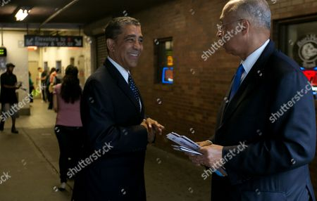 Adriano Espaillat, Bill Thompson Former New York City Comptroller Bill Thompson, right, campaigns with New York State Sen. Adriano Espaillat at a subway stop in Upper Manhattan, . Espaillat faces U.S. Rep. Charles Rangel in the June 24, 2014 primary election. Tuesday's primary also looks to be tight; a poll released late last month had Rangel with a slim lead, and two other lesser-known candidates - one black, one Latino - could siphon votes from both men