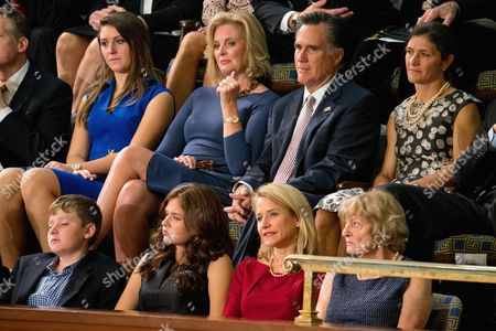 Mitt Romney, Ann Romney, Janna Ryan 2012 Republican presidential candidate Mitt Romney, center right, and his wife Ann, center left, sit in the House Chamber gallery on Capitol Hill in Washington, as Rep. Paul Ryan, R-Wis., is expected to be voted in as the new House Speaker. Ryan's wife Janna, is at bottom second from right