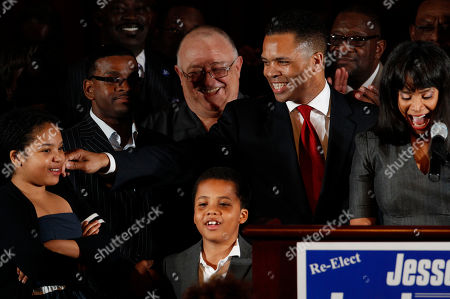 Jesse Jackson Jr., Sandi Jackson, Jessica Jackson, Jesse Jackson III U.S. Rep. Jesse Jackson Jr., D-Ill., his wife Chicago Alderman Sandi Jackson, and their children Jessica, 12, and Jesse III, 8, thank supporters at his election night party, in Chicago after his Democratic primary win over challenger, former Rep. Debbie Halvorson, in the Illinois' 2nd District