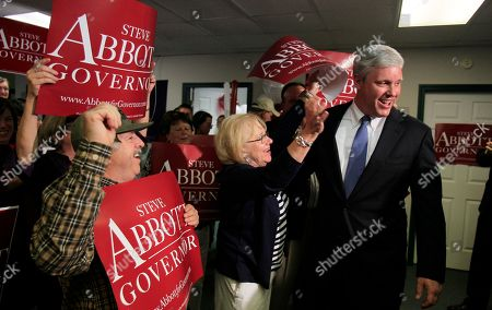 Steve Abbott Republican gubernatorial candidate Steve Abbott talks with his supporters at his primary election night party, in Portland, Maine