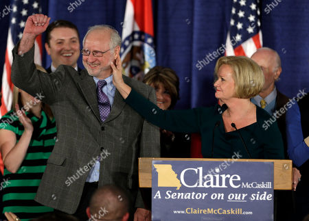 Claire McCaskill, Joseph Shepard Sen. Claire McCaskill, D-Mo., touches the face of her husband, Joseph Shepard, while declaring victory over challenger Rep. Todd Akin, R-Mo., in the Missouri Senate race, in St. Louis