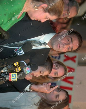 SUAREZ Xavier Suarez speaks during a news conference at his home in Miami, . An appeals court restored Joe Carollo as mayor of Miami four months after he was ousted by Suarez in an election declared rife with absentee voter fraud