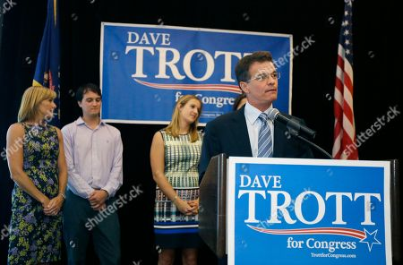 David Trott Republican David Trott stands with his family as he gives his election night victory speech before supporters in Troy, Mich., . Republican U.S. Rep. Kerry Bentivolio was defeated by lawyer and businessman Trott in suburban Detroit's 11th Congressional District primary. Bentivolio, 62, was the third U.S. House incumbent to lose this year after Texas Rep. Ralph Hall and former House Majority Leader Eric Cantor in Virginia
