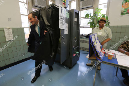 Eliot Spitzer Democratic comptroller hopeful Eliot Spitzer exits the voting booth after casting his vote in the primary election at his polling station in New York