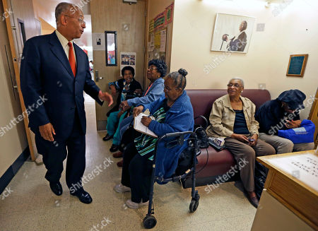 Bill Thompson New York City Democratic mayoral hopeful Bill Thompson, left, says farewell to seniors after campaigning at the Central Harlem Senior Citizens Center, in New York