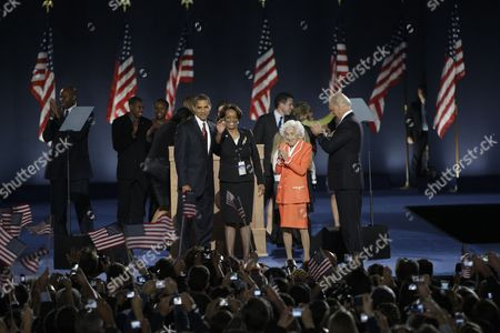 Barack Obama, Marian Robinson, Jean Biden, Joe Biden President-elect Barack Obama and his mother-in-law Marian Robinson, and Vice president-elect Joe Biden, right, and his mother Jean Biden, take the stage after Obama delivered his victory speech at the election night party at Grant Park in Chicago, Tuesday night