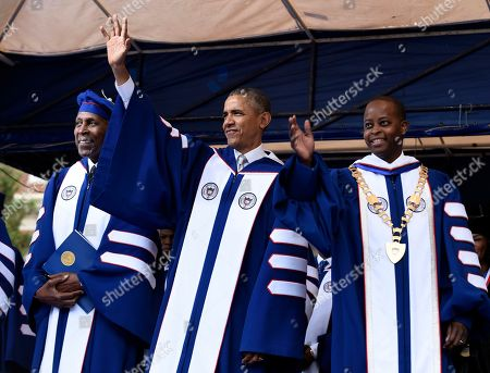 Barack Obama, Wayne A.I. Frederick, Vernon Jordan President Barack Obama, center, standing with Vernon Jordan, left, and Howard University President Wayne A.I. Frederick, right, wave to the crowd during the commencement ceremony for the 2016 graduating class of Howard University in Washington