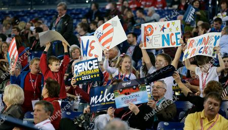 A crowd shows support of Republican candidate for governor Mike Pence at an Indiana Republican Party, in Indianapolis. Pence is running against Democrat John Gregg and Libertarian Rupert Boneham