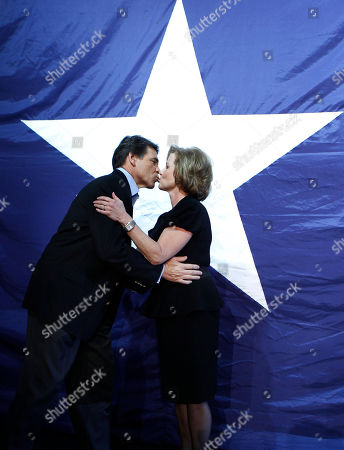Rick Perry, Anita Perry Texas Republican Gov. Rick Perry, left, kisses his wife Anita Perry at his re-election victory party in Buda, Texas, after defeating Democrat Bill White. In the race for the presidency Perry has gone from front-runner to underdog in a flash, yet he acts as though he has nothing to lose. Perhaps he's used to being counted out, thought he hasn't lost an election in his 26 years in public office