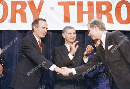 Pete Wilson Republican U.S. Senator Pete Wilson, right, shakes hands with presidential candidate George Bush as California Gov. George Deukmejian looks on at a rally in Orange, California on . Wilson is running for re-election while Deukmejian is being considered as a possible running mate with Bush