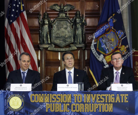 Andrew Cuomo, Andrew Cuomo, William Fitzpatrick New York Gov. Andrew Cuomo, center, speaks during a news conference as New York Attorney General Eric Schneiderman, left, and Onondaga County District Attorney William Fitzpatrick listen, in Albany, N.Y. Cuomo has established a powerful investigative body to examine the state Board of Elections and potential wrongdoing by legislators in campaign fundraising. Cuomo announced his attentions two weeks ago after abandoning efforts this year at legislative reforms. That followed federal bribery and embezzlement charges filed against several state lawmakers. Fitzpatrick is c-chairman of the commission