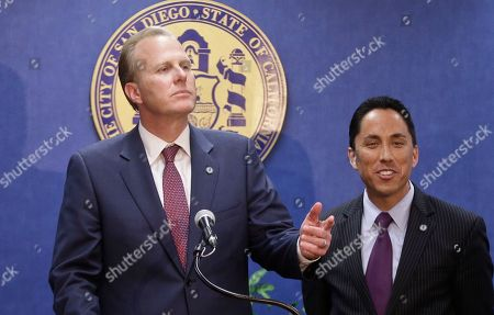 Kevin Faulconer, Todd Gloria San Diego mayor-elect Kevin Faulconer, left, and interim mayor Todd Gloria hold a news conference, in San Diego. Faulconer won the city's special election Tuesday to replace former mayor Bob Filner who resigned