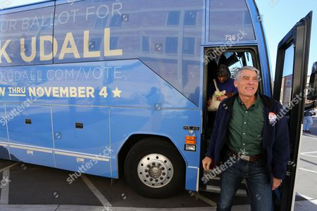 Mark Udall Sen. Mark Udall, D-Colo. exits his campaign bus during a visit to the University of Colorado in Boulder, Colo. on Election Day