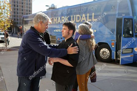 Mark Udall Sen. Mark Udall, D-Colo. talks with a supporter during a visit to the University of Colorado in Boulder, Colo., on Election Day