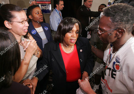 Stock Picture of MAJETTE Georgia democratic U.S. Senate candidate Denise Majette, center, is greeted by supporters including Larry Platt, right, after conceding her race to Republican opponent Johny Isakson on election night in Atlanta