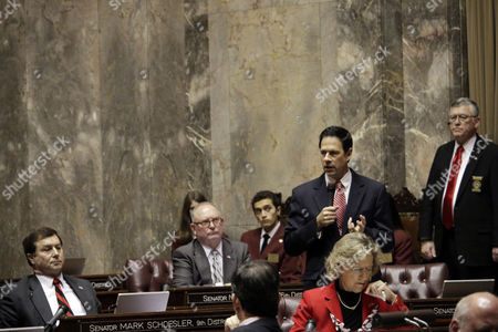 Republican Sen. Andy Hill speaks in support of rejecting the gubernatorial confirmation of Department of Transportation Secretary Lynn Peterson, in Olympia, Wash. The rare move was taken by the Senate as majority Republicans and a Democrat who caucuses with them voted 25-21 to not confirm her appointment