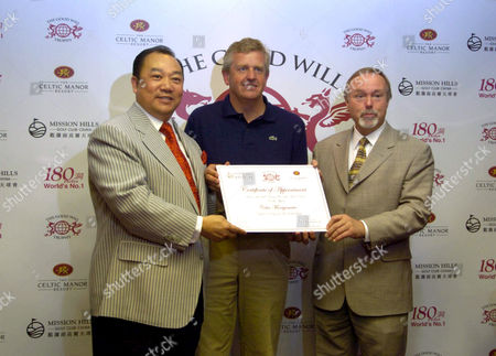David Chu, Chairman of Mission Hills Group, Colin Montgomerie and Sir Terry Matthews, Chairman of The Celtic Manor Resort, launching The Goodwill Trophy, a new team event between two teams from Europe and USA against The Rest of the World.