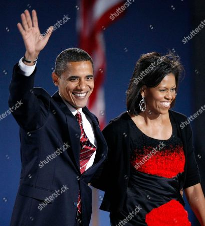 Barack Obama, Michelle Obama Then-President-elect Barack Obama and his wife Michelle Obama, wearing a Narciso Rodriguez dress, acknowledge the crowd after he delivered his victory speech at his election night party at Grant Park in Chicago. Curators at the National Archives have culled their collection in search of some of the great signatures of history. A special exhibit opening Friday includes the personal marks of figures that include Thomas Jefferson, Frank Sinatra, Jackie Robinson, Adolf Hitler and Saddam Hussein, along with important documents from history. For the first time, the black dress worn by Michelle Obama on the night of the 2008 election is going on display. It was designed by Narcisco Rodriguez