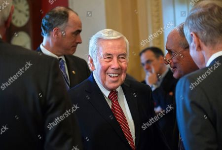 Stock Photo of Richard Lugar Sen. Richard Lugar, R-Ind., the ranking Republican on the Senate Foreign Relations Committee, center, flanked by Sen. Robert Casey, D-Pa., left, and Sen. Carl Levin, D-Mich., awaits the arrival of Israeli Prime Minister Benjamin Netanyahu on Capitol Hill in Washington, . After six terms in the Senate and nearing 80, Lugar is facing his first serious election challenges in decades, against Indiana Treasurer Richard Mourdock in the May 8 primary