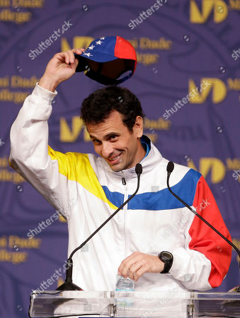 Henrique Capriles Radonski Henrique Capriles, governor of the state of Miranda and opposition leader in Venezuela, tips his hat as he speaks to supporters, in Miami. Capriles vowed to continue peacefully advocating for change in Venezuela, and said he dreamed of the day all of those who have left return. He also urged them to continue pushing for the reopening of the Miami consulate closed in 2012