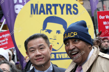 Charles B. Rangel, John C. Liu Rep. Charles B. Rangel, right, and New York City Comptroller John C. Liu join a rally and march to the United Nations headquarters, in New York. Civil rights activists protested stricter voting laws Saturday with a march from the New York offices of Koch Industries, whose owners have supported an organization that favors tighter safeguards against election fraud