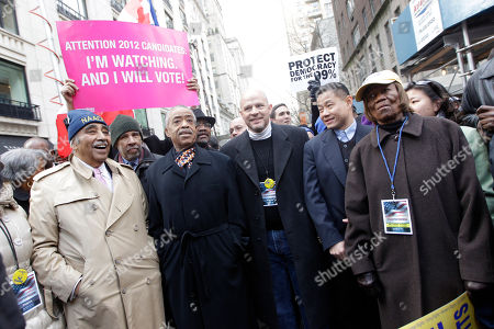 Charles B. Rangel, Al Sharpton, Michael Mulgrew, John C. Liu, Hazel Dukes Officials including from left, Representative Charles B. Rangel, the Rev. Al Sharpton, President of the United Federation of Teachers Michael Mulgrew, New York City Comptroller John C. Liu, and President of the NAACP New York State Hazel Dukes, join a rally and march to the United Nations headquarters, in New York. Civil rights activists protested stricter voting laws Saturday with a march from the New York offices of Koch Industries, whose owners have supported an organization that favors tighter safeguards against election fraud