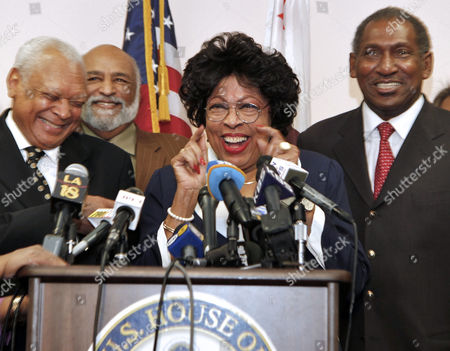John Mack, Celes King, Diane Watson, Willis Edwards Rep. Diane Watson, D-Los Angeles, at podium, laughs, after announcing that she will not seek re-election to the congressional seat she has held since 2001 at her district office in Los Angeles on . From left, Los Angeles Police Commission President John Mack, Celes King, Jr., Rep. Watson, and NAACP National Board of Directors member Willis Edwards
