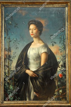 Stock Photo of Portrtait of Princess Margaret painted in 1957 by Pietro Annigoni
