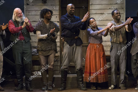 John Stahl (Colonel), Dex Lee (Fourth/Odyssey Dog), Steve Toussaint (Hero), Nadine Marshall (Penny) and Jimmy Akingbola (Homer) during the curtain call